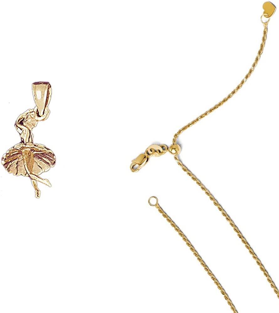 14K Yellow Gold 3-D Ballerina Pendant on an Adjustable 14K Yellow Gold Chain Necklace