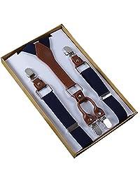 Panegy Men's Women's 4 Clips Adjustable Suspenders Elastic Y Shape Braces-Navy