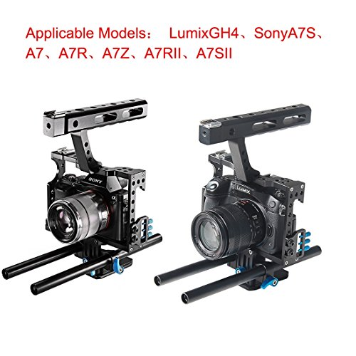 Handheld Camera Cage, PULUZ Professional Aluminum Alloy Video DSLR Stabilizer Kit with Top Handle Grip + Rail Rod for Panasonic G7 Lumix DMC-GH4/ GH3 & Sony A7/ A7S/ A7R/ A7RII/ A7SII (Blue)