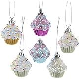 "Kurt Adler 2"" Cupcake Ornament Set of 6"