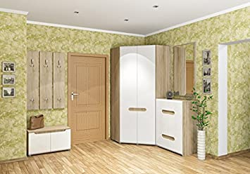 Eckkleiderschrank weiß hochglanz  Garderobe Dielenset mit Eckschrank 6532 sonoma eiche / weiß ...