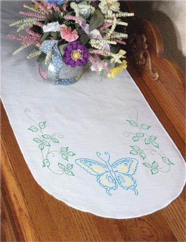 Dresser Scarf Butterflies (Fairway 16231 Dresser Scarf, Blue Butterfly Design, White, Perle Edge)