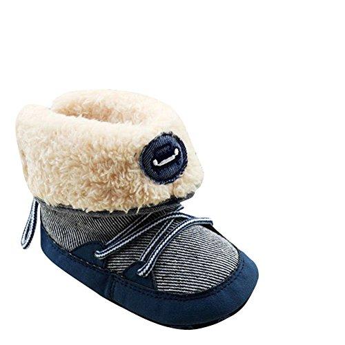 Moresave - botas de nieve Bebé-Niñas azul a rayas