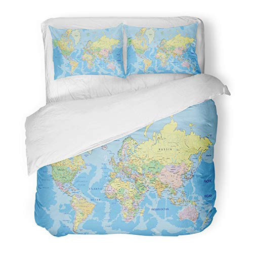 (Emvency Decor Duvet Cover Set Full/Queen Size Blue Detail Highly Detailed Political World Map with Labeling Atlas Country Africa 3 Piece Brushed Microfiber Fabric Print Bedding Set Cover)