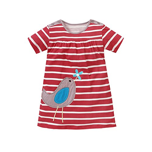 Dhasiue Little Girls Dresses Short Sleeve Summer Cotton Cute Applique Casual Dress For Toddler (Stripes Sorrel)