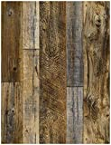 "Tools & Hardware : HaokHome 92048-2 Peel and Stick Wood Plank Wallpaper Shiplap 17.7""x 9.8ft Brown Vinyl Self Adhesive Contact Paper Decorative"