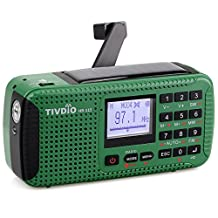 TIVDIO HR-11S Portable Emergency Radio Crank AM FM Radio Shortwave with MP3 Player Digital Recorder Red SOS Power Bank DynamoWind Up Camping Radio(Green)
