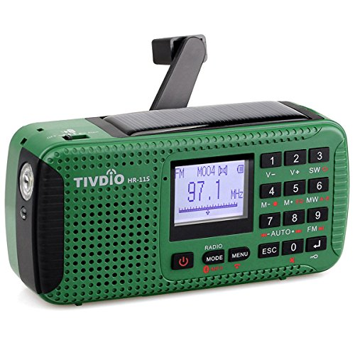 TIVDIO HR-11S Emergency Radio with AM FM Shortwave Radio Camping Dynamo Radio Solar Outdoor Wind Up with SOS Flashlight Wireless MP3 Player Speaker and Recorder Alarm Clock DSP(Green) by TIVDIO