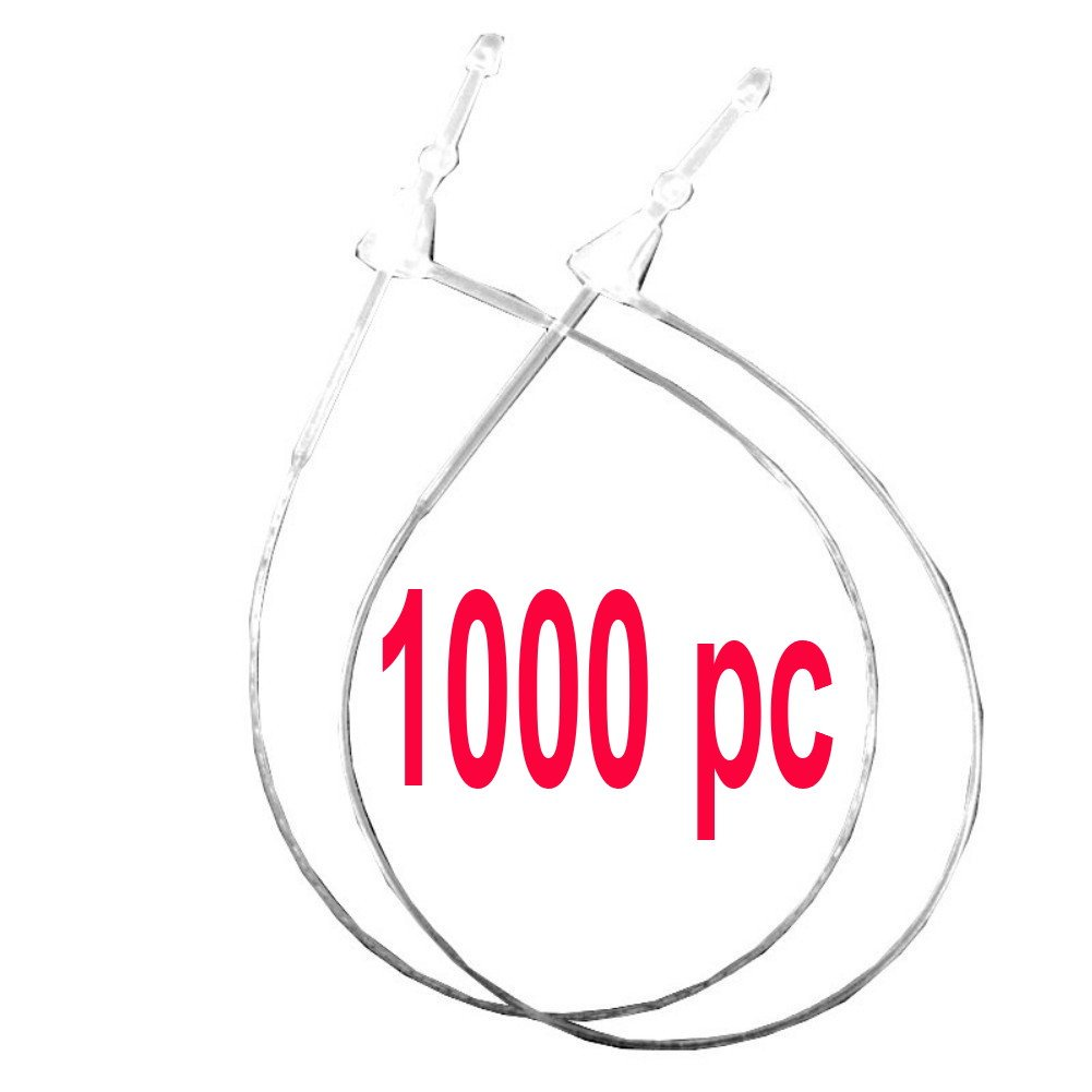 1000pcs 5' 130mm Clear Plastic Secur-a-tach Price Tag Security Pins Loop Fastener, Paddle Snap Lock Pins T-end Fastener Hanger String for Garments Ligiloi