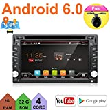 Upgrade Version Quad Core WIFI Model Android 6.0 T3 Model Universal In Dash Double din 6.2'capacitive Touch Screen Car DVD Player GPS Navigation Stereo with Camera