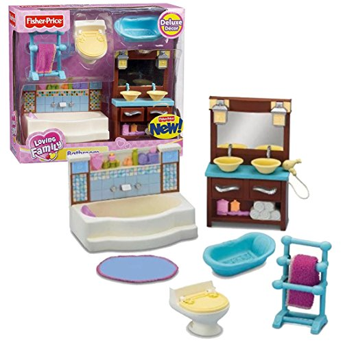 Fisher Price Year 2010 Loving Family Dollhouse Deluxe Decor Furniture - BATHROOM with Bathtub, Towel Rack with Towel, Toilet Bowl, Baby Bathtub, Vanity Drawer Cabinet with Double Sink and Rug