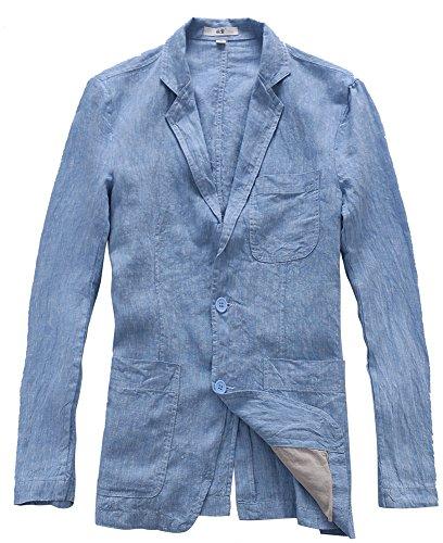 Lino Uomo Casual Giacca Blazer Blu Estiva Da Insun In tFOxqq