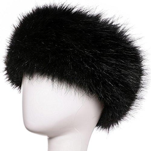 Yetagoo Faux Fur Headband For Women Winter Earwarmer Earmuff Hat Ski (Black)