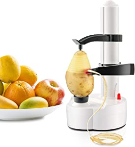 Electric Peeler Automatic Rotating Apple Peeler Potato Peeling Multifunction Stainless Steel Fruit and Vegetable Electric Peeler Machine (White)