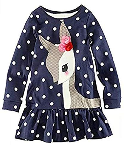 Toddler Girl Cute Deer Dress Long Sleeve Cotton White Dot Hem Ruffle Shirt Blue