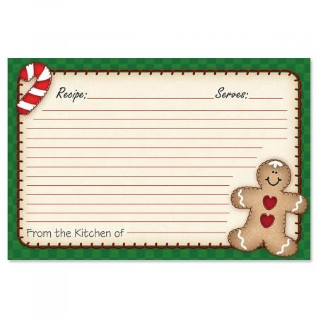 Gingerbread Man Recipe Cards- 4 x 6