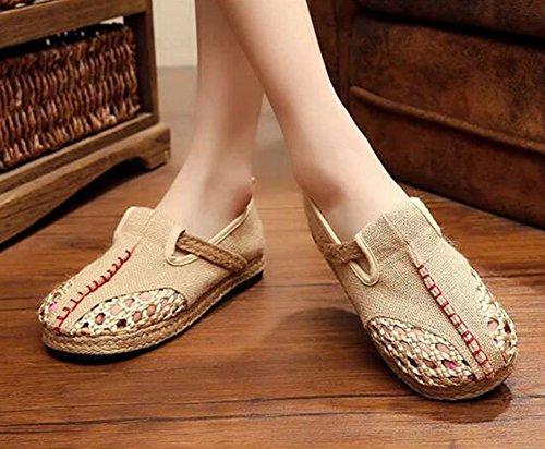 Diseño Zapatos Empalme Beige Mujer de Único Cordones Escarpines MISSMAOM de aXqwT6