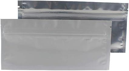 100 White//Clear Mylar Bags Resealable Ziplock PREROLL