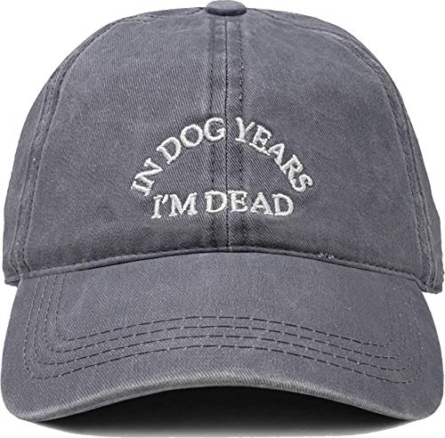 Funky Junque Dad Hat Unisex Cotton Low Profile Distressed Vintage Baseball Cap (in Dog Years I