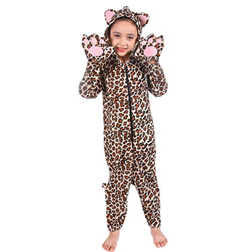 Familus Unisex Cheetah Animal Onesie Costume Pajamas for Kids