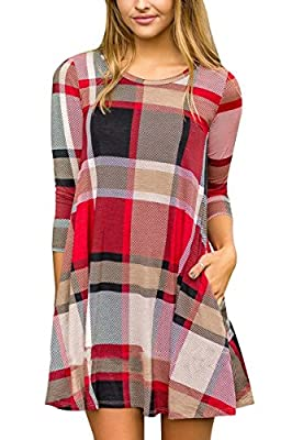 Boosouly Womens Plaid Printed 3/4 Sleeve Scoop Neck Pocket Flared Tunic Mini Dress