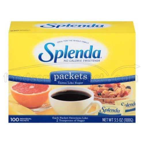Splenda No Calorie Sweetener Packet, 1 Gram - 100 per pack - 12 packs per case.