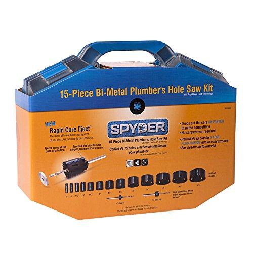 Spyder 600808 Bi-Metal Rapid Core Eject Plumbers Hole Saw Kit, 15-Piece