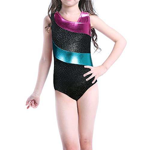 Gymnastics Leotards For Teens Big Girls Ballet Dance Black Shiny Size 14-15 - Buy -7912