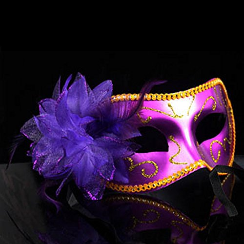 Nanier Mistery Luxury Mysterious Pretty Lady Glitter Mask, Women's Gorgeous Venetian Masquerade Mask (Gossy-purple) Day Venetian Mask