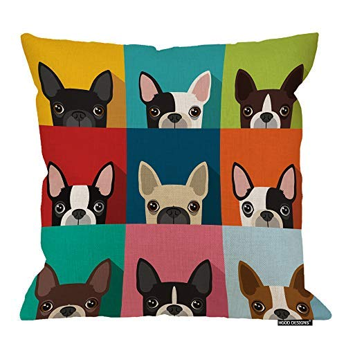 - HGOD DESIGNS Dog Square Pillow Cushion Cover,Funny Boston Terrier Face Art Portrait Icon Cotton Linen Cushion Covers Home Decorative Throw Pillowcases 18x18inch