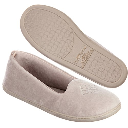 Dearfoams Women's Rebecca Microfiber Velour Closed Back Slipper,Pewter,M