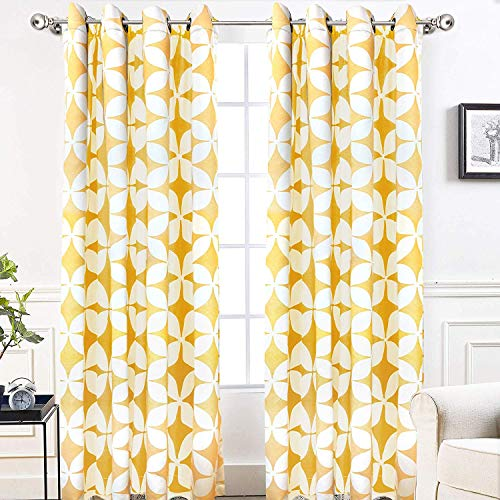 DriftAway Amelia Thermal Blackout/Room Darkening Grommet Window Curtains Retro Geo Pattern Round Circle Star Print Set of 2 Panels Each 52 Inch by 84 Inch Yellow (Yellow Printed Curtains)