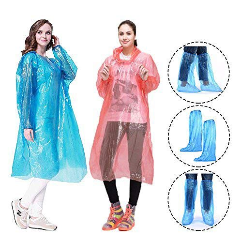 Disposable Emergency Raincoat Poncho with Drawstring Hood+Long Rain Shoe Cover Waterproof Boots Cover Survival Kit Accessory for Travel Outdoor Training Courses Camping School Sporting,Fit for Adults by CRIVERS