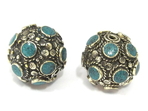 - 1 Bead - Beautiful Tibetan turquoise inlaid focal pendant bead from Nepal 25 mm size - BD894