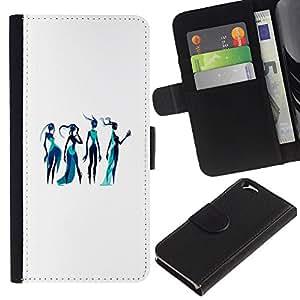 EJOY---La carpeta del tirón la caja de cuero de alta calidad de la PU Caso protector / Apple Iphone 6 / --Diosa Arte Bosquejo de la moda azul Mujer del agua