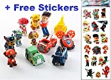 Paw Patrol Deluxe Figure Set of 12 Toy Kit with Stickers | Mini Cake Toppers Cupcake Decorations Party favors Featuring Ryder, Marshall, Chase, Skye, 5 Vehicles By Infinite Deals and Creations