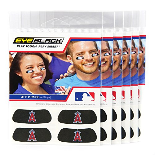 ((24 Strips) Eye Black - Los Angeles Angels MLB Eye Black Anti Glare Strips, Great for Fans & Athletes on Game Day)