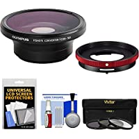 Olympus FCON-T01 Fisheye Converter Lens & CLA-T01 Adapter Ring Pack for Tough TG-3, TG-4 & TG-5 Camera with 3 UV/CPL/ND8 Filters + Kit
