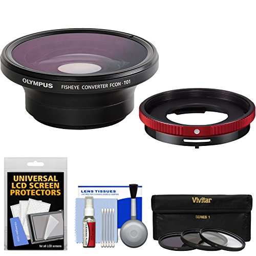 Olympus FCON-T01 Fisheye Converter Lens & CLA-T01 Adapter Ring Pack for Tough TG-3, TG-4 & TG-5 Camera with 3 UV/CPL/ND8 Filters + Kit by Olympus