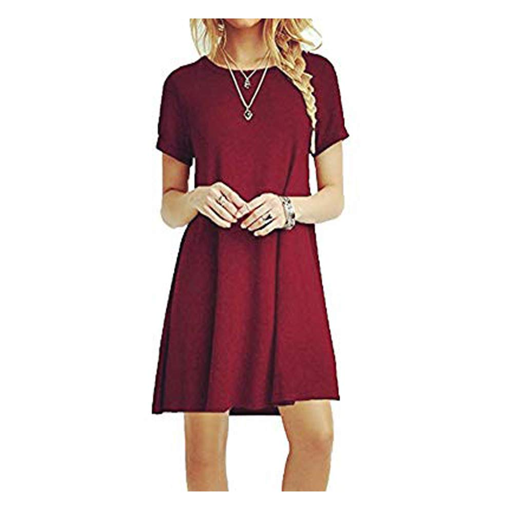 ZNYSTAR Women Short Sleeve Loose Casual T-Shirt Mini Dress