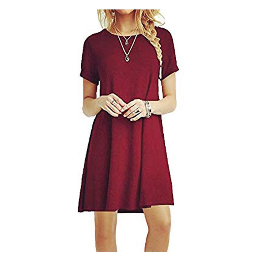 ZNYSTAR Women Short Sleeve Loose Casual T-Shirt Mini Dress