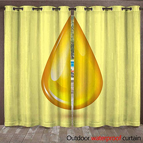 - RenteriaDecor Outdoor Balcony Privacy Curtain Orange Honey Drop and Yellow Splashes Healthy Syrup Golden Food Liquid drip Vector Illustration W96 x L108
