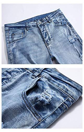 Semplice Da Pantaloni Stile Stretch Chern Jeans Blu Uomo Fit Pft Distrutto Fori Casual Con Di Colour Slim Lavato qqrC8xfw