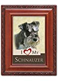 I Love My Schnauzer 2x3 Photo Woodgrain Finish Frame with Easel, Ribbon Hanger and Magnetic Back
