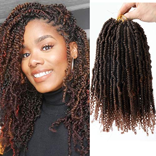 (Flyteng spring twist hair 1b/30 Ombre Colors Synthetic Crochet Braids Bomb Twist Hair Senegalese Spring Twist crochet hair curl end)