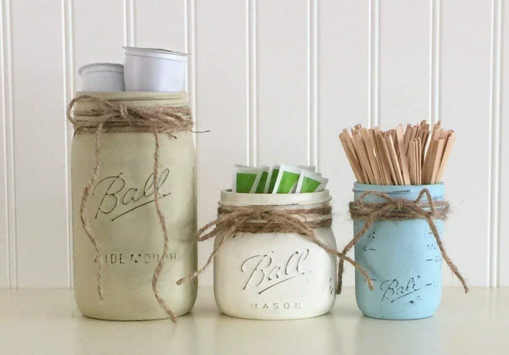 Mason Jar Coffee Storage Decor Set - 3 Piece, Beige, White, Blue, Kitchen Storage Decor
