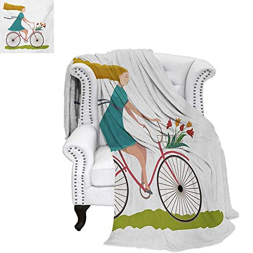 warmfamily Bicycle Velvet Plush Throw Blanket Young Woman on Bike with Basket of Tulip Flowers Riding in The Spring Countryside Throw Blanket 60