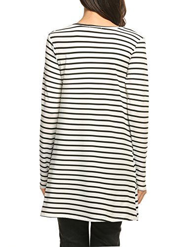 ACEVOG amp;white Line Style Sleeve Short A Neck 2 Flared O Casual Summer Dress Striped black Women xZwvxrp