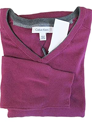 Calvin Klein Men's Emotion Pink w/Gray Contrasting V-Neck Sweater Large