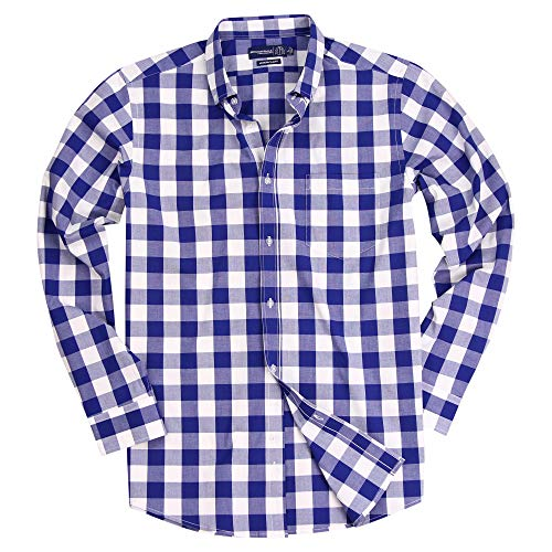 Men's Long Sleeve Slim Fit Button Down Stretch Gingham Plaid Casual Shirt (Large Royal/White, Slim Fit: Large)